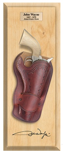 John Wayne SAA 6-Shooter in Holster framed set, light wood frame