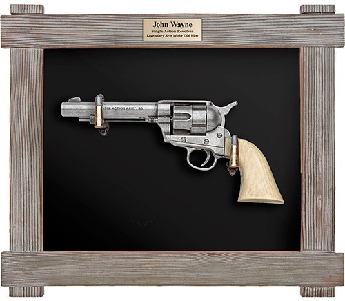 John Wayne Six Shooter in barnwood frame