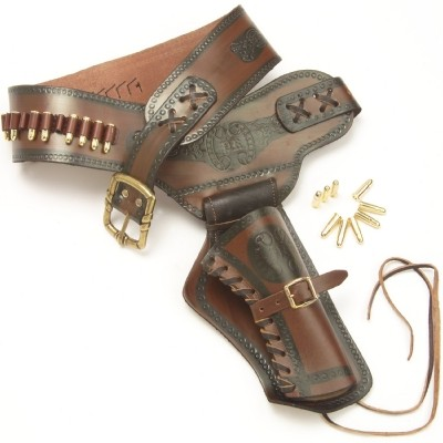 Brown and black single holster and gunbelt, right-hand draw,