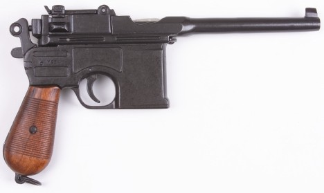 C1896 Mauser Broomhandle pistol replica with wood grips