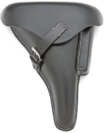 Holster for P-08 Luger, black leather