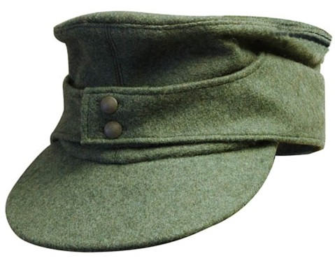 German mountain cap, forest green wool with cotton lining.