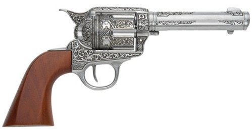 1873 engraved grey SAA revolver replica with wood grip.