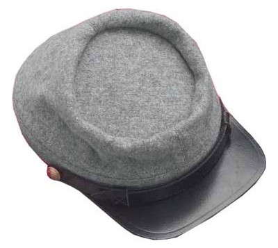 Confederate enlisted kepi cap, grey wool with leather brim.