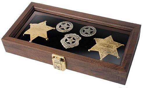 Old West Badges in a boxed display.