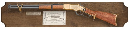 1866 Lever Action Replica Rifle framed set on dark wood plaque