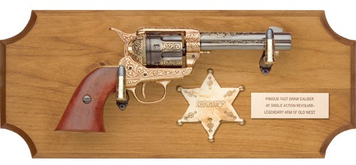 Frontier sheriff framed set, 1873 engraved SAA, lilght wood frame