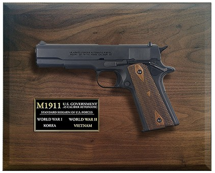 M1911 Military Pistol in framed display