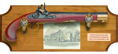 The Alamo franed set with Kentucky flintlock pistol