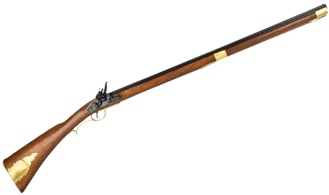 Kentucky Rifle replica, real metal parts, wood stock.