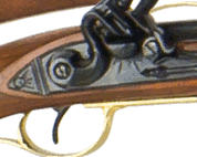 Closeup view of flintlock mechanism of Kentuciy Rifle.