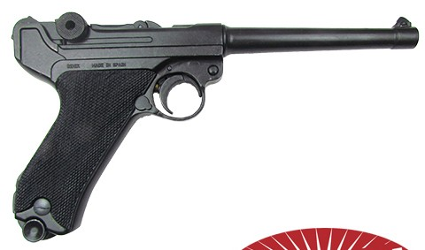 Luger P08 Naval Pistol, black with black checkered grips