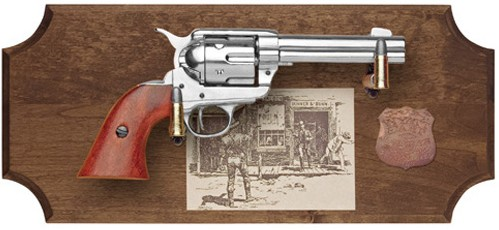 Wyatt Earp replica gun framed display, dark wood