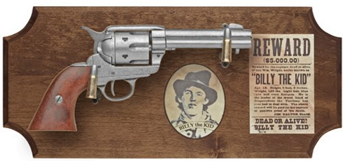 Billy the Kid framed replica revolver display, dark wood frame