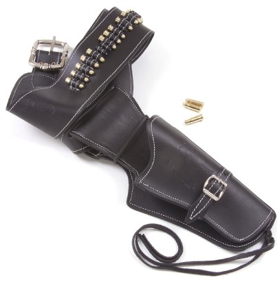 All leather black holster and gunbel with repl;ica bullets.