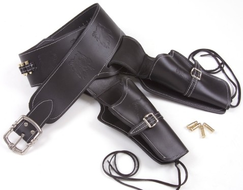 All leather black double holster and gunbelt with replica bullets.