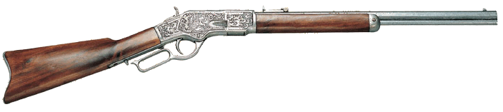 1873 Lever-action Repeating Rifle, Pewter finish with engraving