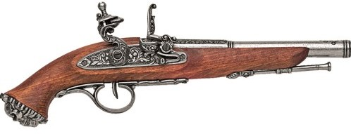 1700s Pirate Flintlock Pistol, grey finish, wood stock.