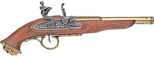 1700s Pirate Flintlock Pistol, brass barrel, wood stock.