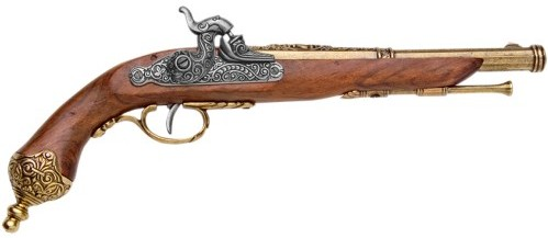 1823 Italian Percussion Cap Pistol Replica, brass finish.