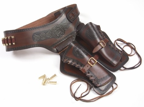 Double holster and gunbelt, brown-black leather with replica bullets..