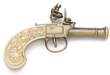 Ladies Purse or Muff Pistol with mock ivory grip and antiqued gold finish