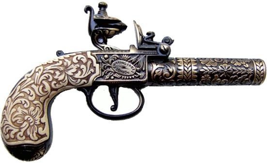 1795 London Kumbley and Brum Pocket Pistol non-firing replica, brass finish, simulated ivory grip, ornately engraved