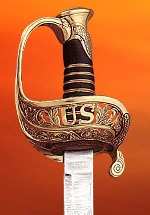 Closeup of the hilt of 1850 U.S. Staff and Field Officer Replica Saber