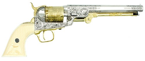 1851 Navy General Custer comemorative in polished nickel and gold finish with faux ivory grips