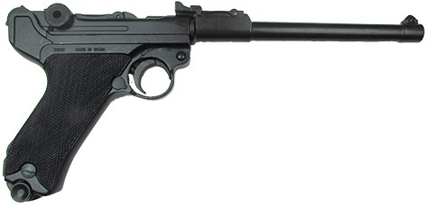 Luger P08 Lange Pistol, black with black checkered grips