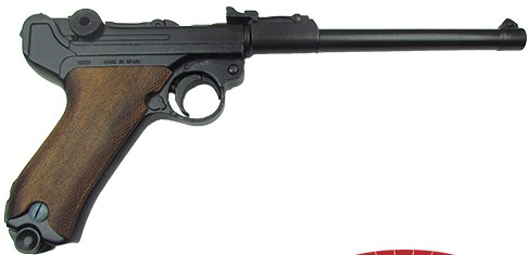 Luger Lange Pistol, black with checkered wood grips