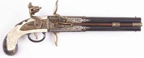 Engraved double barrel flintlock with rotating barrels
