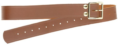 John Wayne holster belt, russet leather with brass-finish buckle