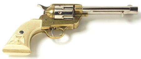 1873 SAA Frontier-style replica revolver, nickel and brass dual finish with simulated checkered ivory grip