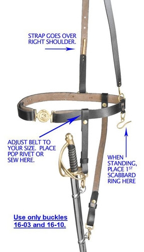 Civil War sword belt with-shoulder strap and sword hanger, black leather with solid brass fittings.