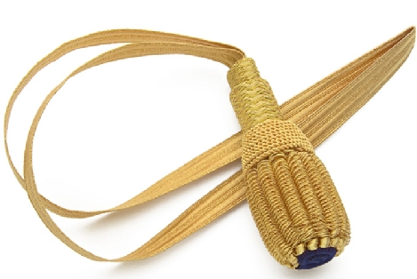 Civil War Officer Sword Knot, 18 inch long, gold half-inch wide ribbon with basketwork tassel and matching gold slide.