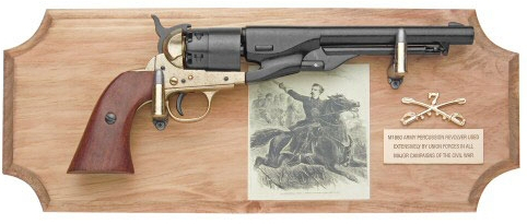 General Custer Framed Set, 1860 Army Revolver on wood plaque with engraving of Custer, crossed saber cavalry insignia and brass identification plate