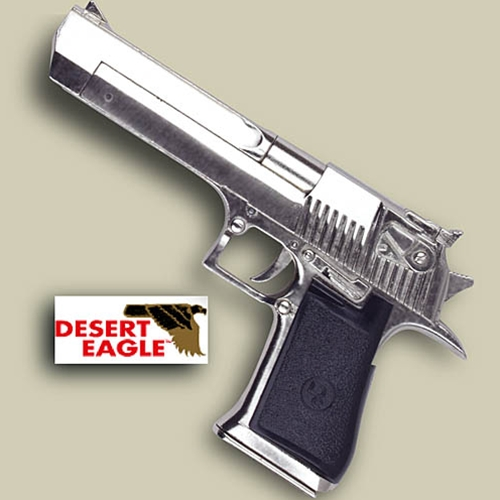 Desert Eagle replica pistol, nickel with black grip