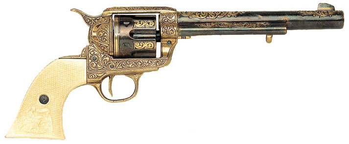 1873 SAA Engraved Revolver, simulated gold inlay, checkered faux ivory grips.