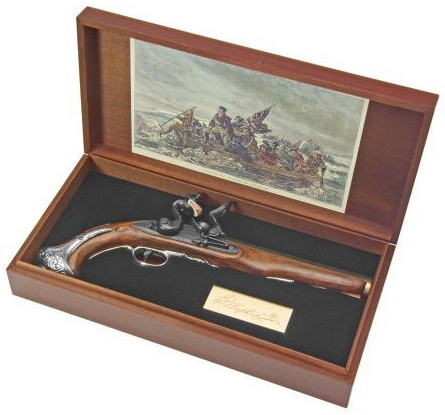 George Washington Flintlock Pistol  in a wood presentation box with bronze signature plate and colorized etching of Washington Crossing the Delaware in the lid.