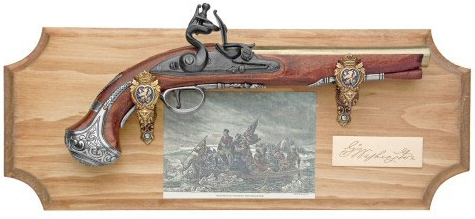 George Washington Flintlock Pistol mounted with baroque hangers on a stained pine plaque with routed edges, brass signature plaque and vintage etching of Washington Crossing the Delaware