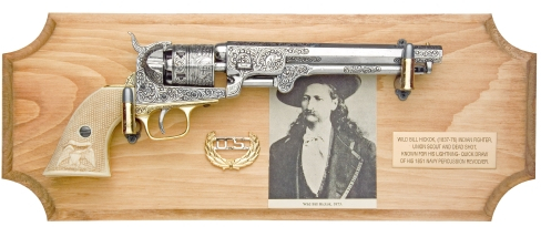 Wild Bill Hickock Framed Set with replica of his engraved, ivory-handled 1851 Navy revolver