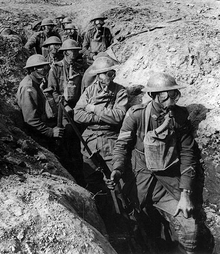 WWI Infantry in the trenches wearing gas masks, Ypres, 1917