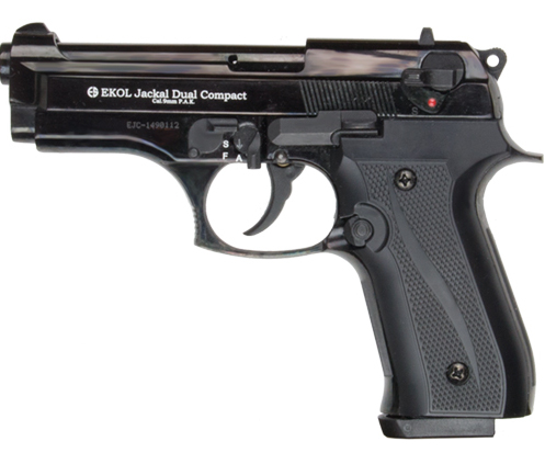 Jackal Compact auto blank-fire pistol, black with textured grip