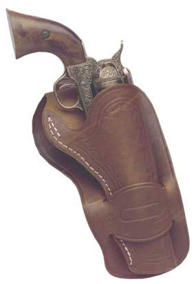 Mexican-style fast draw holster as used by John Wayne in several movies, brown leather