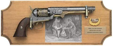 1851 Navy Revolver replica framed set on stained wood plaque