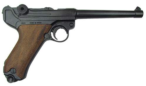 Luger P08 Naval Pistol, with checkered wood grips