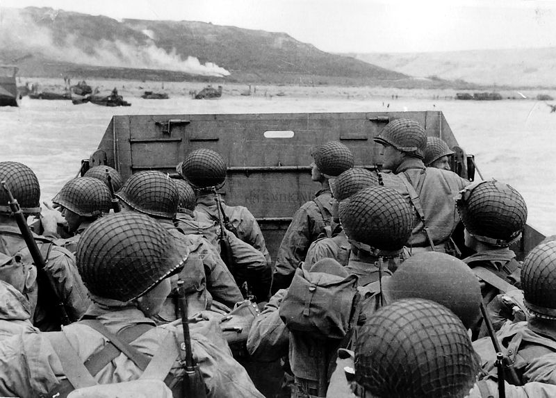 Allied Troops landing on Omaha Beach in Normandy Invasion.