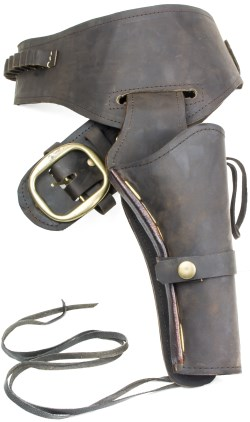 Oiled brown leather holster and gunbelt.