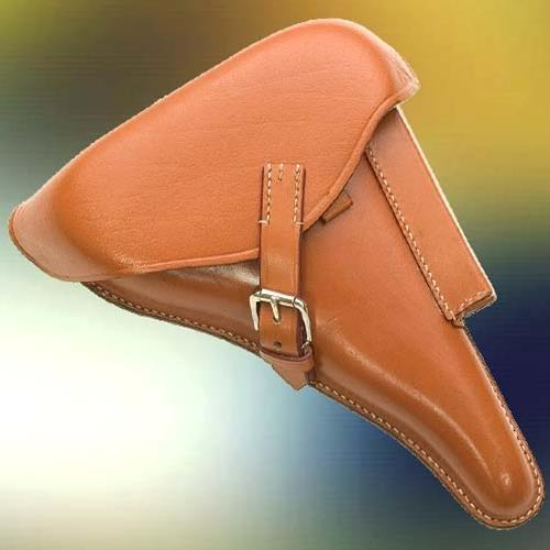 Luger P08 AfrikaKorps hardshell holster, brown leather